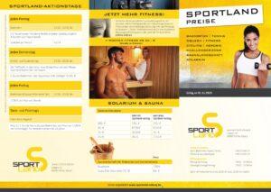 Sportland Preislisten front